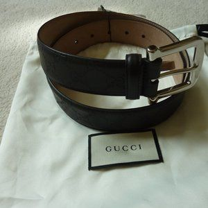 "Gucci 'GG' Logo Brown Leather Belt, 80cm (32"")"